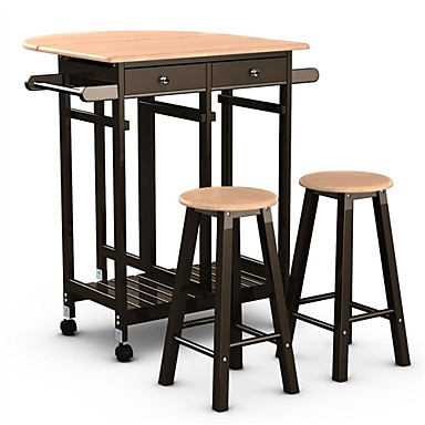 Mobile Kitchen Island Cart Breakfast Table With 2 Stools
