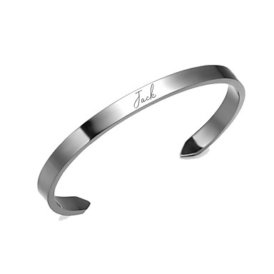 cheap Customized Jewelry-Personalized Customized Bracelet Titanium Steel Classic Name Engraved Gift Promise Festival Circle 1pcs Gold Silver / Laser Engraving