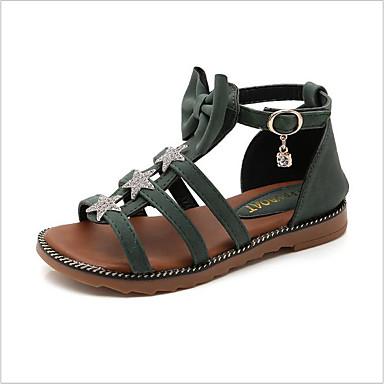 ราคาถูก Thick Soled Sandals-เด็กผู้หญิง รองเท้าโรมัน หนังเทียม รองเท้าแตะ ผ้าขนสัตว์สีธรรมชาติ / สีเขียว / สีชมพู ฤดูใบไม้ผลิ / ฤดูร้อน