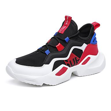 בגדי ריקוד גברים נעלי נוחות Tissage וולנט קיץ ספורטיבי נעלי אתלטיקה ריצה נושם קולור בלוק אדום / שחור אדום