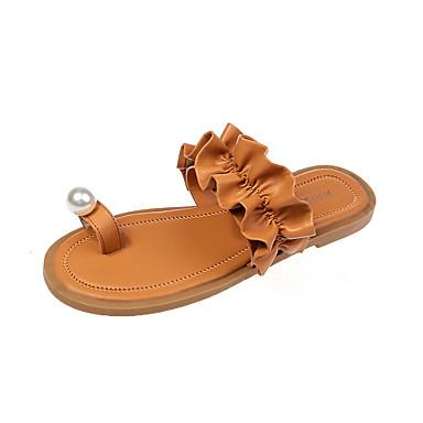 voordelige Damespantoffels & slippers-Dames Slippers & Flip-Flops Platte hak Imitatieparel PU Informeel Zomer Oranje / Beige / Geel