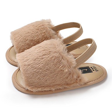 cheap Kids' Sandals-Girls' First Walkers / Children's Day Faux Fur Girls' Slippers / Sandals Infants(0-9m) / Toddler(9m-4ys) Dark Red / White / Black Summer