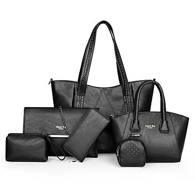 preiswerte Schuhe und Taschen-Damen Leder / PU Bag Set Volltonfarbe 6 Stück Geldbörse Set Schwarz / Hellgrünkaffee / Dunkelbraun