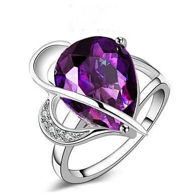 levne Dámské šperky-Dámské Prsten Akvamarín 1ks Fialová Měď Geometric Shape stylové Dar Denní Šperky Klasika Blahoslavený Cool