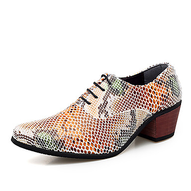 cheap Printed Shoes-Men's Formal Shoes Leather Spring / Fall Business / British Oxfords Walking Shoes Non-slipping Brown / Black#1B / White / Wedding / Party & Evening / Party & Evening / Printed Oxfords / Dress Shoes