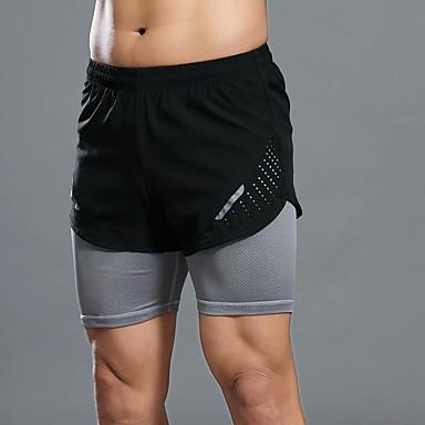 בגדי ריקוד גברים שורט לריצה ללא תיפורים ספורט מכנסיים קצרים ריצה כושר וספורט נושם ייבוש מהיר רך קולור בלוק שחור ירוק אפור S M L XL XXL / מיקרו-אלסטי