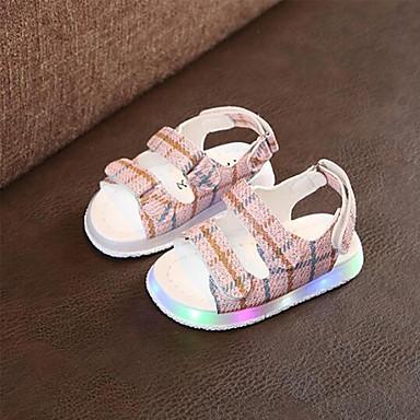 levne Dětské botičky-Dívčí Svítící boty PU Sandály Děti / Toddler Černá / Žlutá / Růžová Léto / Guma