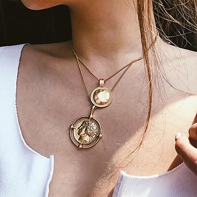 povoljno Modne ogrlice-Žene slojeviti Ogrlice Novčić Vintage Viktoriánus Krom Zlato 37 cm Ogrlice Jewelry 1pc Za Dnevno Ulica
