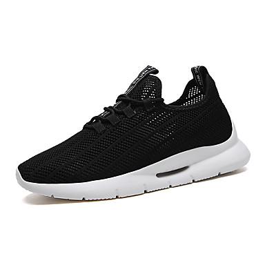 בגדי ריקוד גברים אור סוליות PU / בד גמיש אביב קיץ ספורטיבי נעלי אתלטיקה נושם שחור / שחור ולבן