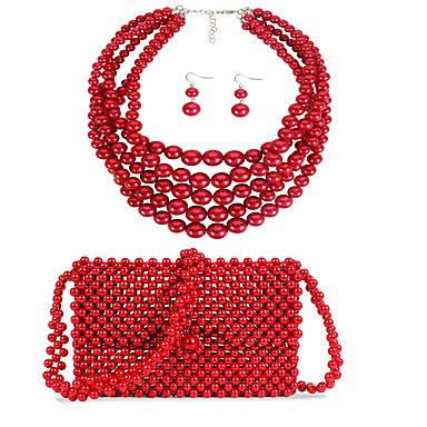 levne Dámské šperky-Dámské Červená Visací náušnice Náhrdelník Náušnice Korálky Venkovský styl Jednoduchý Luxus Klasické Módní Napodobenina perel Náušnice Šperky Červená Pro Svatební Párty Zásnuby Dar Street 3