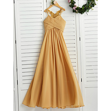 cheap Baby & Kids-A-Line Halter Neck Floor Length Chiffon Junior Bridesmaid Dress with Appliques / Ruching / Wedding Party