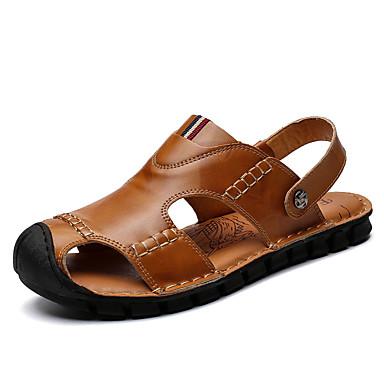 בגדי ריקוד גברים נעלי נוחות עור נאפה Leather קיץ / אביב קיץ יום יומי סנדלים נושם שחור / חום בהיר / בורדו