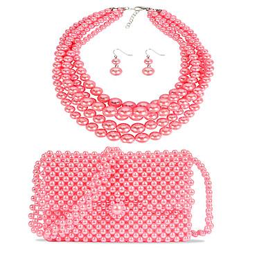levne Dámské šperky-Dámské Růžová Visací náušnice Náhrdelník Náušnice Korálky stylové Jednoduchý Luxus Klasické Vintage Napodobenina perel Náušnice Šperky Růžová Pro Svatební Párty Dar Street 3 / İnci Kolyeler