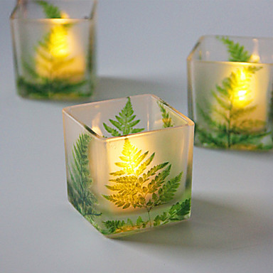 ירוק עלה זכוכית פמוט שולחן העבודה קישוט קישוט החתונה