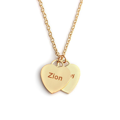 cheap Name Necklaces-Personalized Customized Necklace Name Necklace Stainless Steel Classic Name Engraved Heart Gift Promise Festival 1pcs Rose Gold Gold Silver / Laser Engraving