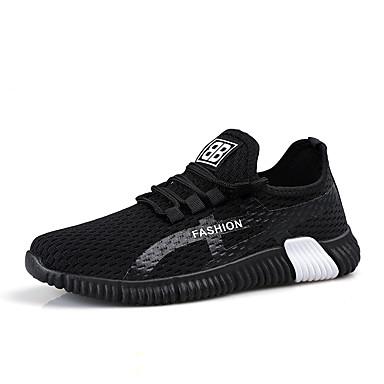 בגדי ריקוד גברים נעליים מגולפות בד גמיש קיץ ספורטיבי נעלי אתלטיקה ריצה נושם שחור לבן / שחור אדום
