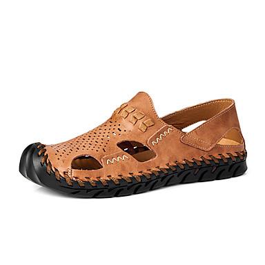 בגדי ריקוד גברים נעלי נוחות עור נאפה Leather קיץ / אביב קיץ יום יומי סנדלים נושם שחור / חום