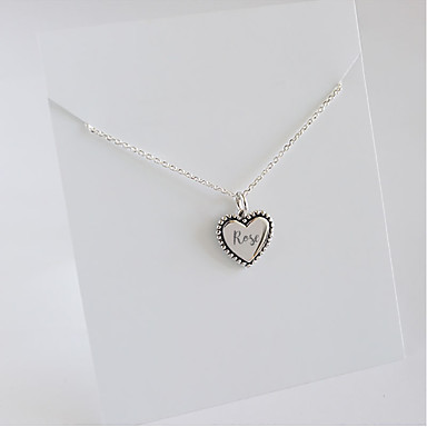 cheap Name Necklaces-Personalized Customized Necklace Name Necklace S925 Sterling Silver Classic Name Engraved Gift Promise Festival Square Heart Shape 1pcs Silver / Laser Engraving