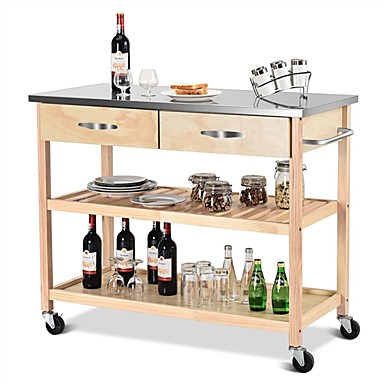 260 39 Natural Wood Modern Kitchen Island Cart With Stainless Steel Top