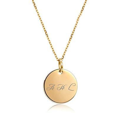 preiswerte Gravierte Halsketten-Personalisiert Angepasst Halskette Edelstahl Münze Name Graviert Geschenk Versprechen Festival Kreisförmig 1pcs Gold Silber Rotgold / Laser Gravur