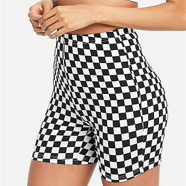 76c89e6205ea [$15.44] 21Grams Cuadros / A Cuadros Mujer Shorts de Ciclismo Pantalones  cortos de motorista - Negro / Blanco Bicicleta Shorts / Malla corta Prendas  ...