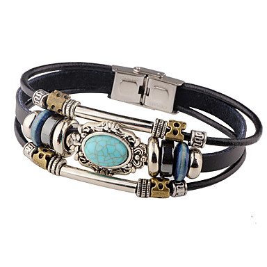cheap Men's Bracelets-Men's Turquoise Leather Bracelet woven Personalized Vintage Leather Bracelet Jewelry Red / Clover / Blue For Casual Stage