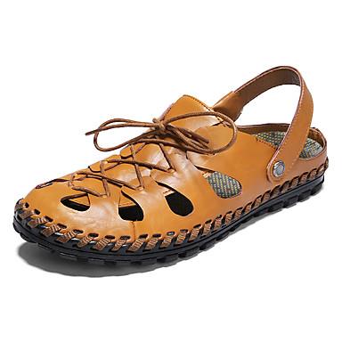 preiswerte Herren Sandalen-Herrn Komfort Schuhe Nappaleder Frühling Sommer Freizeit Sandalen Wasser-Schuhe / Walking Atmungsaktiv Schwarz / Braun / Blau
