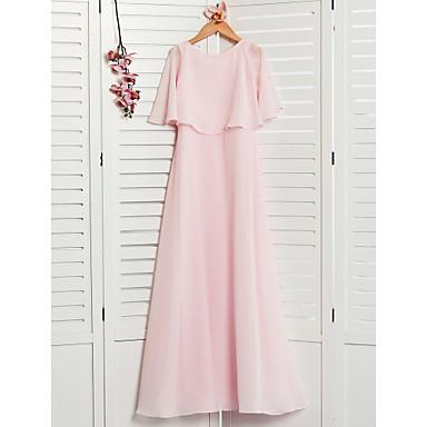cheap Baby & Kids-A-Line Jewel Neck Maxi Chiffon Junior Bridesmaid Dress with Ruffles