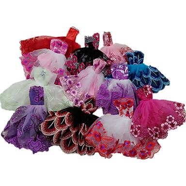 preiswerte Zubehör für Puppen-Puppenkleid Party / Abends Ballkleid 5 pcs Für Barbie Spitze Satin / Tüll Spitze Satin Kleid Für Mädchen Puppe Spielzeug