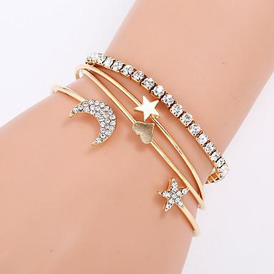 Zircon Women Bracelet Crystal Gold Silver Flower Heart Crown Fashion Bangle Cuff