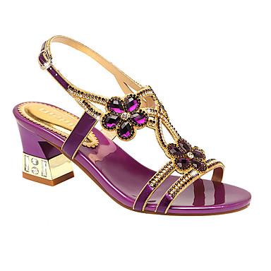 ราคาถูก Trendy Shoes-สำหรับผู้หญิง Microfibre ฤดูร้อน รองเท้าแตะ ส้นหนา เปิดนิ้ว หินประกาย สีทอง / สีม่วง / ฟ้า