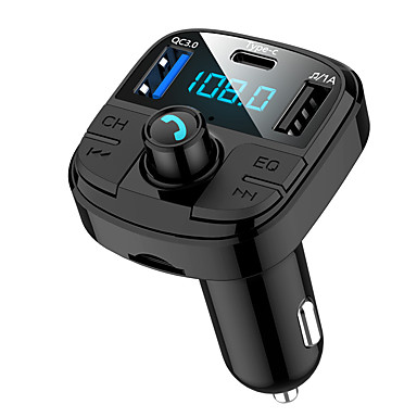 cheap Bluetooth Car Kit/Hands-free-BT29 Bluetooth 5.0 Car FM Transmitter QC3.0 Car Bluetooth Adapter Wireless Bluetooth FM Radio Adapter with 5 EQ Mode 3 Charging Ports Support USB Disk TF Card Hands-Free Car Kits