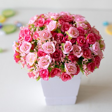 cheap Artificial Flowers & Vases-1Pc Artificial Plastic Flower 21 Diamond Rose 7 Fork Spring Small Rose Rose Bud Artificial Flower