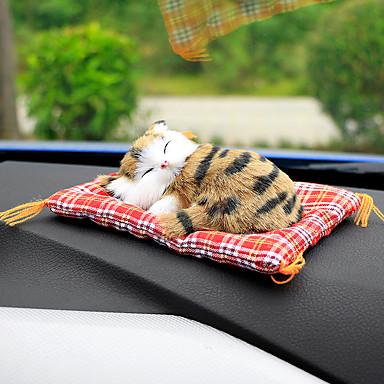 billige Interiørtilbehør til bilen-bil ornamenter søt simulering sovende katter dekorasjon biler nydelig plysj kattunger dukke leketøy