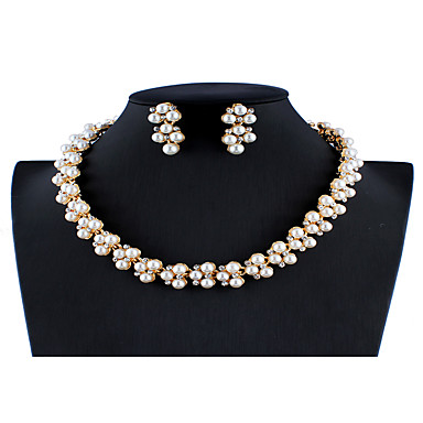 UK New Women Wedding Bridal White Pearl Rhinestone Necklace and Earring set