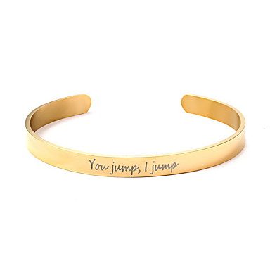 cheap Engraved Bracelets-Personalized Customized Bracelet Stainless Steel Classic Name Engraved Gift Promise Festival 1pcs Gold Silver Rose Gold / Laser Engraving