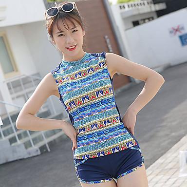 בגדי ריקוד נשים שני בגד ים אלסטיין בגדי ים הגנה מפני השמש UV ייבוש מהיר ללא שרוולים 2חלקים - שחייה טלאים אביב קיץ / גמישות גבוהה