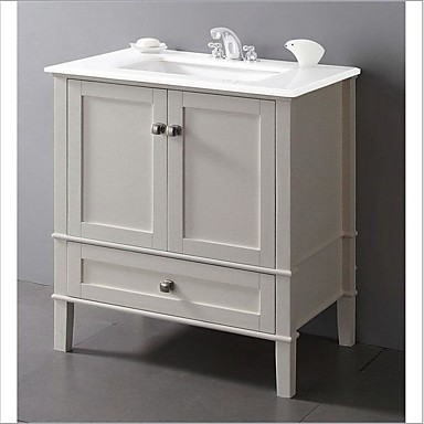 חדר אמבטיה עכשווי יוהרה בלבן רך עם משטח שיש וכיור מלבני