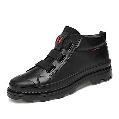 בגדי ריקוד גברים נעלי עור עור נאפה Leather חורף קלסי / יום יומי מגפיים הליכה שמור על חום הגוף מגפונים\מגף קרסול שחור