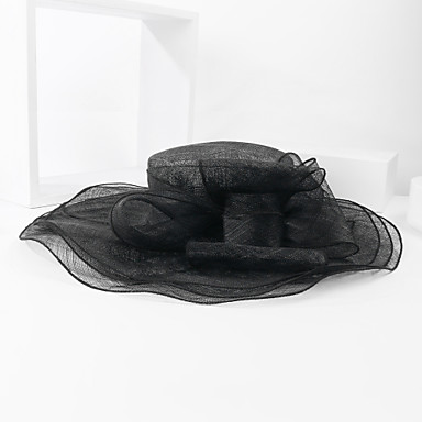 voordelige Hoeden-Vlas Kentucky Derby Hat / hatut met Bloem 1pc Bruiloft / Speciale gelegenheden  Helm