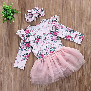 povoljno Odjeća za bebe-Dijete Djevojčice Aktivan / Osnovni Print Dugih rukava Jednodijelno Blushing Pink