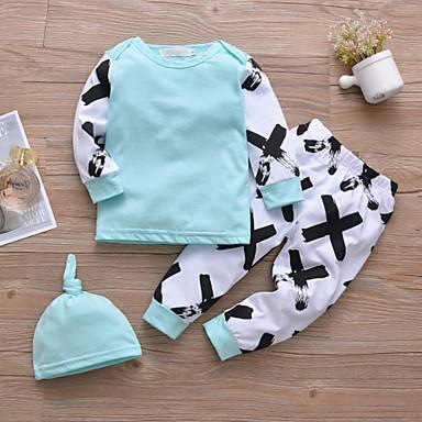 povoljno Odjeća za bebe-Dijete Djevojčice Ležerne prilike / Aktivan Geometrijski oblici / Print Print Dugih rukava Regularna Komplet odjeće Svjetloplav