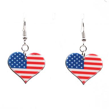 povoljno Modne naušnice-Žene Naušnica Klasičan Američka zastava Srce Zastava Patriotski nakit Europska pomodan Naušnice Jewelry Pink Za Dar Festival 1 par
