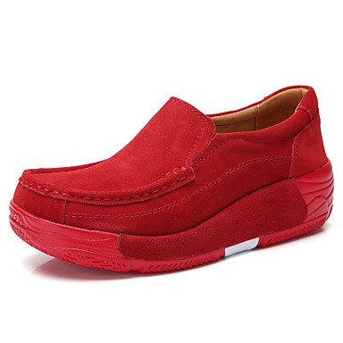 בגדי ריקוד נשים נעליים ללא שרוכים מטפסים בוהן עגולה סוויד וינטאג' / בריטי הליכה קיץ & אביב / סתיו חורף שחור / חום / אדום / יומי
