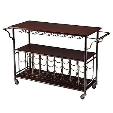 347 54 Wood Top Kitchen Island Wine Rack Cart With Storage Shelf