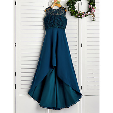 cheap Baby & Kids-A-Line Jewel Neck Asymmetrical / Tea Length Chiffon / Lace Junior Bridesmaid Dress with Lace