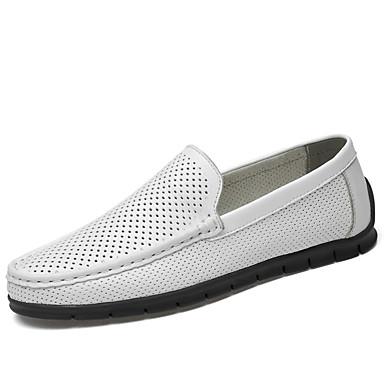 בגדי ריקוד גברים נעלי עור עור נאפה Leather סתיו / אביב קיץ עסקים / יום יומי נעליים ללא שרוכים הליכה ללא החלקה לבן / שחור