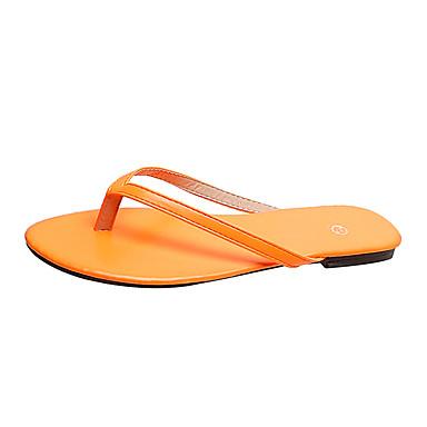voordelige Damespantoffels & slippers-Dames Slippers & Flip-Flops Platte hak PU Zomer Oranje / Geel / Fuchsia