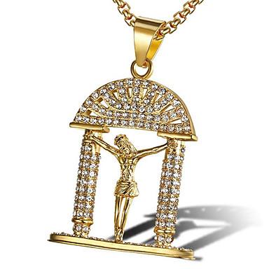 levne Pánské šperky-Pánské Kubický zirkon Náhrdelníky s přívěšky Klasika Modlitba Módní Iced Out Titanová ocel Zlatá Bílá 60 cm Náhrdelníky Šperky 1ks Pro Dar Denní
