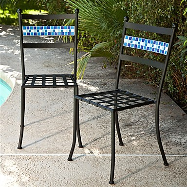 Enjoyable 309 74 Set Of 2 Black Powder Coated Iron Metal Patio Bistro Chairs With Aqua Blue Backrest Lamtechconsult Wood Chair Design Ideas Lamtechconsultcom